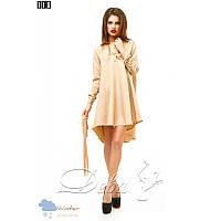 Платье из габардина хвост №115 Размер:L - (46); Цвет:Бежевый