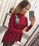 """Женская хлопковая рубашка удлиненная сзади с карманами и декором """"Рука"""" (2 цвета), фото 2"""
