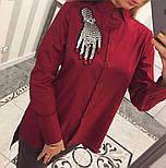"""Женская хлопковая рубашка удлиненная сзади с карманами и декором """"Рука"""" (2 цвета), фото 3"""