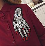 """Женская хлопковая рубашка удлиненная сзади с карманами и декором """"Рука"""" (2 цвета), фото 4"""