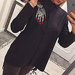 """Женская хлопковая рубашка удлиненная сзади с карманами и декором """"Рука"""" (2 цвета), фото 6"""