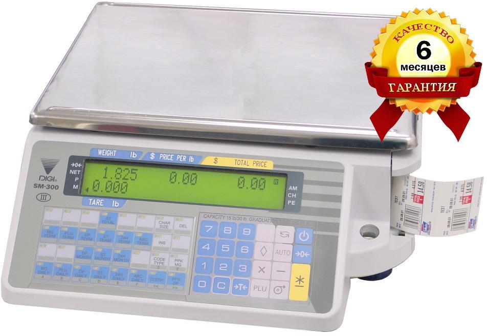 Торговые весы с печатью этикетки Digi SM 300B бу