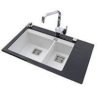 Прямоугольная кухонная мойка AquaSanita Delicia Plus GQD-150 AW с накладкой из белого и черного стекла