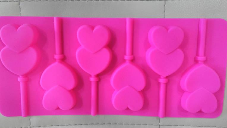 Силиконовая форма для леденцов сердца., фото 2