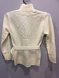 Детская вязаная кофта с вышивкой для девочки 128 см, фото 3