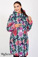 Двухстороннее пальто для беременных Kristin print, коралловое с розами