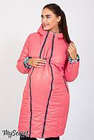 Стильное двухстороннее пальто для беременных Kristin print, коралловое с розами