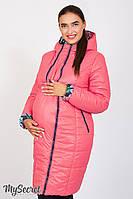 Стильное двухстороннее пальто для беременных Kristin print, коралловое с розами*