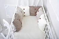 Комплект вязаных бортиков в кроватку, бежевый, фото 1