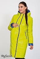 Стильное двухстороннее пальто для беременных Kristin print, салатовый с принтом синий джинс*