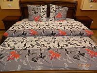 Комплект серого постельного белья из бязи Gold, 100% хлопок. Красные цветы