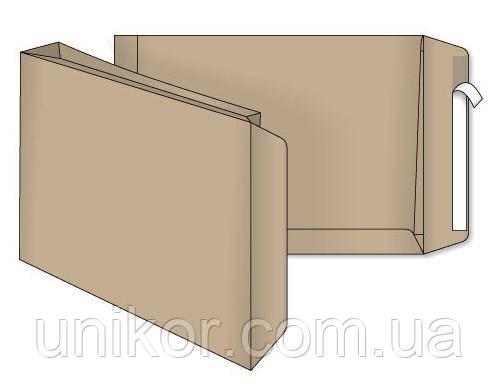 Конверт B4 (250*353) самоклеющийся, боковой клапан, крафт 120г/м2, с расширением. Optimail