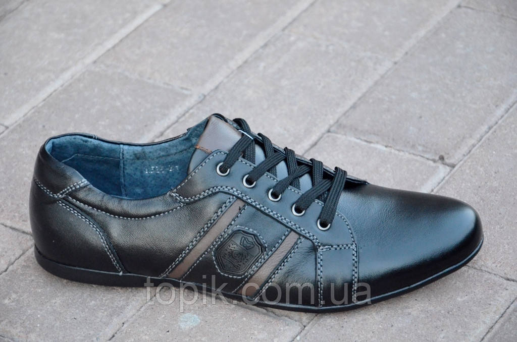 Туфли, мокасины мужские молодежные кожанные цвет черный легкие, удобные Китай (Код: 851)