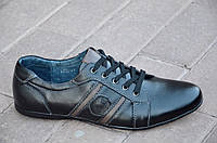 Туфли, мокасины мужские молодежные кожанные цвет черный легкие, удобные Китай 2017