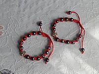Браслет красная нить с гематитовыми шариками от давления