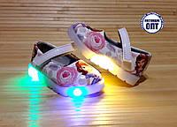 Детские туфли для девочки со светящейся подошвой 21-26 принцесса София