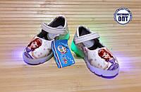 Детские туфли для девочки со светящейся подошвой 21-23 принцесса София, фото 1