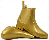 Женские резиновые сапоги золотистые