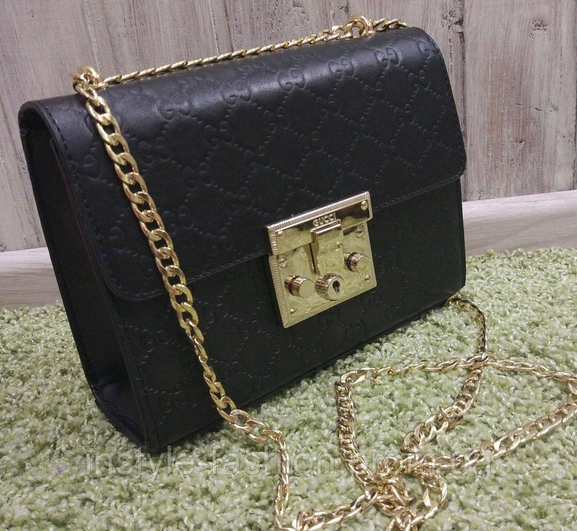 d04c774e7753 Сумка клатч через плечо Gucci Гуччи на цепочке черная - Сумки брендовые,  кошельки, очки