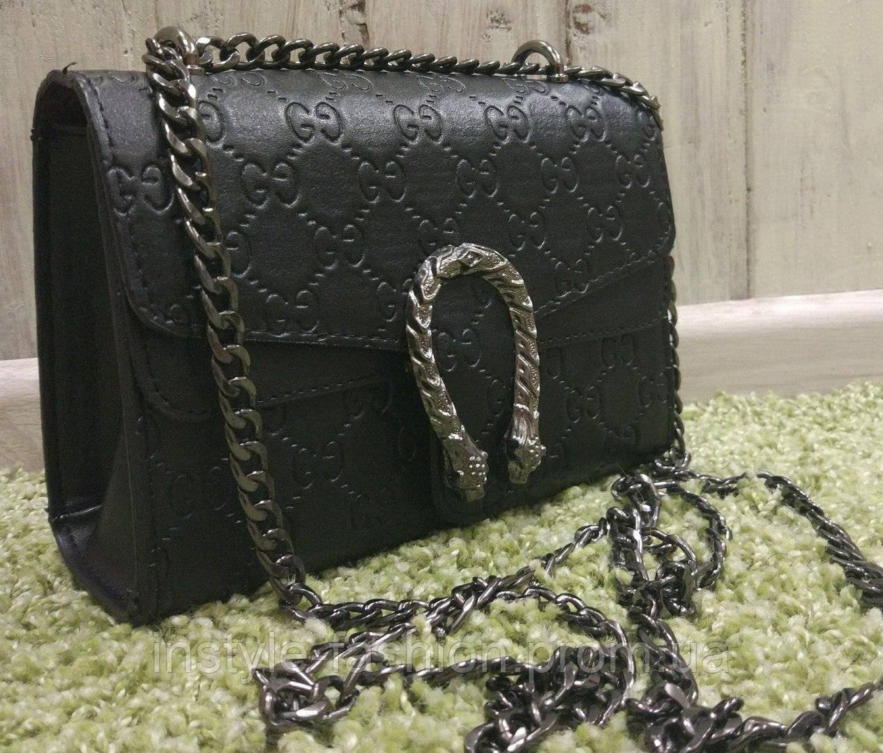 e177033ef68e Сумка клатч через плечо Gucci Гуччи на цепочке черная  купить ...