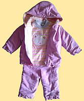 """Теплый костюмчик для девочки """"Мишка"""", розовый, 18 мес."""