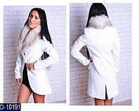 Пальто  на пуговице с мехом кашемир , подкладка черный , молоко