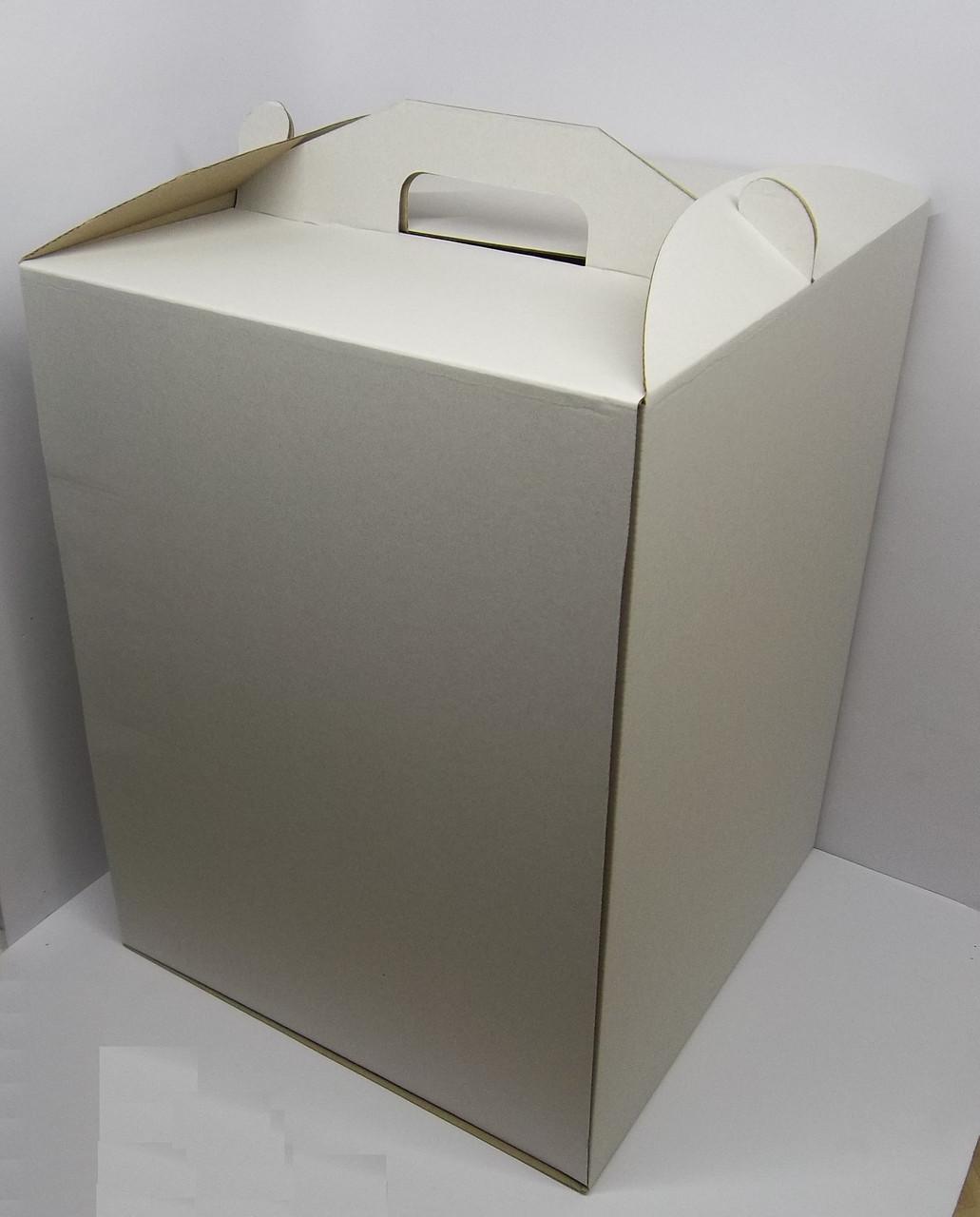 Картонная коробка для торта 40*40*30 см (белая) ( 5 шт)
