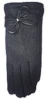 Перчатки женские 9611 с махрой бантик (зима)