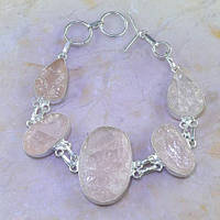 Великолепный браслет с камнем розовый кварц. Браслет с кварцем