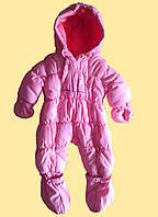 Комбинезон детский теплый для новорожденной девочки, розовый, 3-6 m