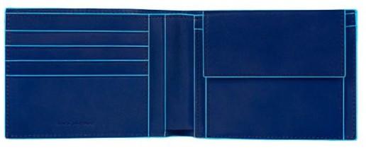 Стильное кожаное портмоне Piquadro Blue Square (B2) 12.5x9.5x2.5 см PU257B2_BLU3 синий