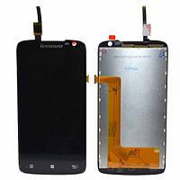Дисплей (экран) для Lenovo S820 леново + тачскрин, цвет черный