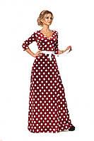 Женское длинное платье с запахом из бархата принтованное горохом цвет бордо размер 44-52