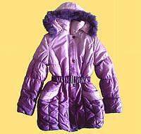 Пальто зимнее теплое детское для девочки, розовое, 158 см.