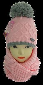 Детские вязаные комплекты и шапки зима девочка