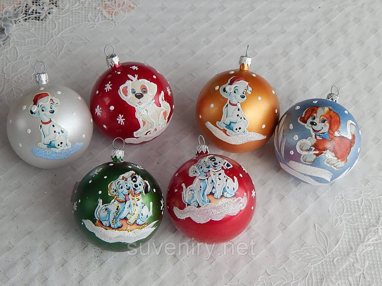 Новогодние шары на елку  символ года 6см