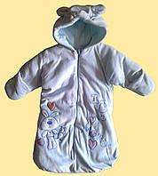 Пальто-конверт теплый велюровый для новорожденного, голубой, 6 мес.