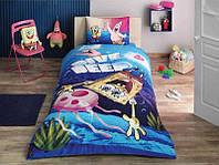 Детское подростковое постельное белье TAC Disney Sponge Bob Dive Deep Ранфорс