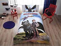 Детское подростковое постельное белье TAC Disney Train Your Dragons Ранфорс