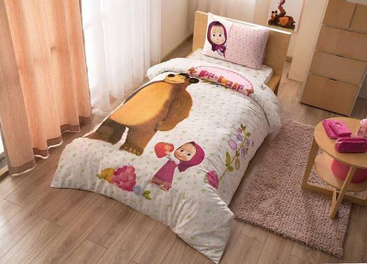 Детское подростковое постельное белье TAC Маша и Медведь Ранфорс