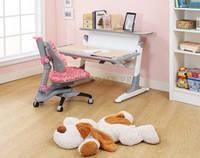 Комплект парта TH-333 Бук, Клен серые вставки на ногах+стул KY-618 розовый с цветами Comf-Pro