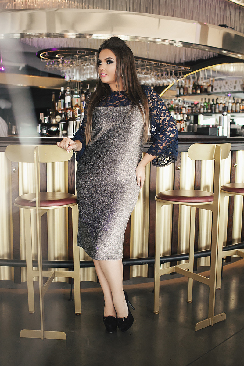 Серебряное платье 03576