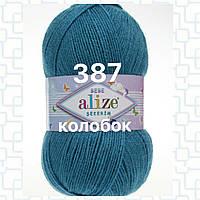 Детская пряжа  для ручного вязания  Alize ŞEKERİM BEBE (Шекерим беби) 387 морская волна