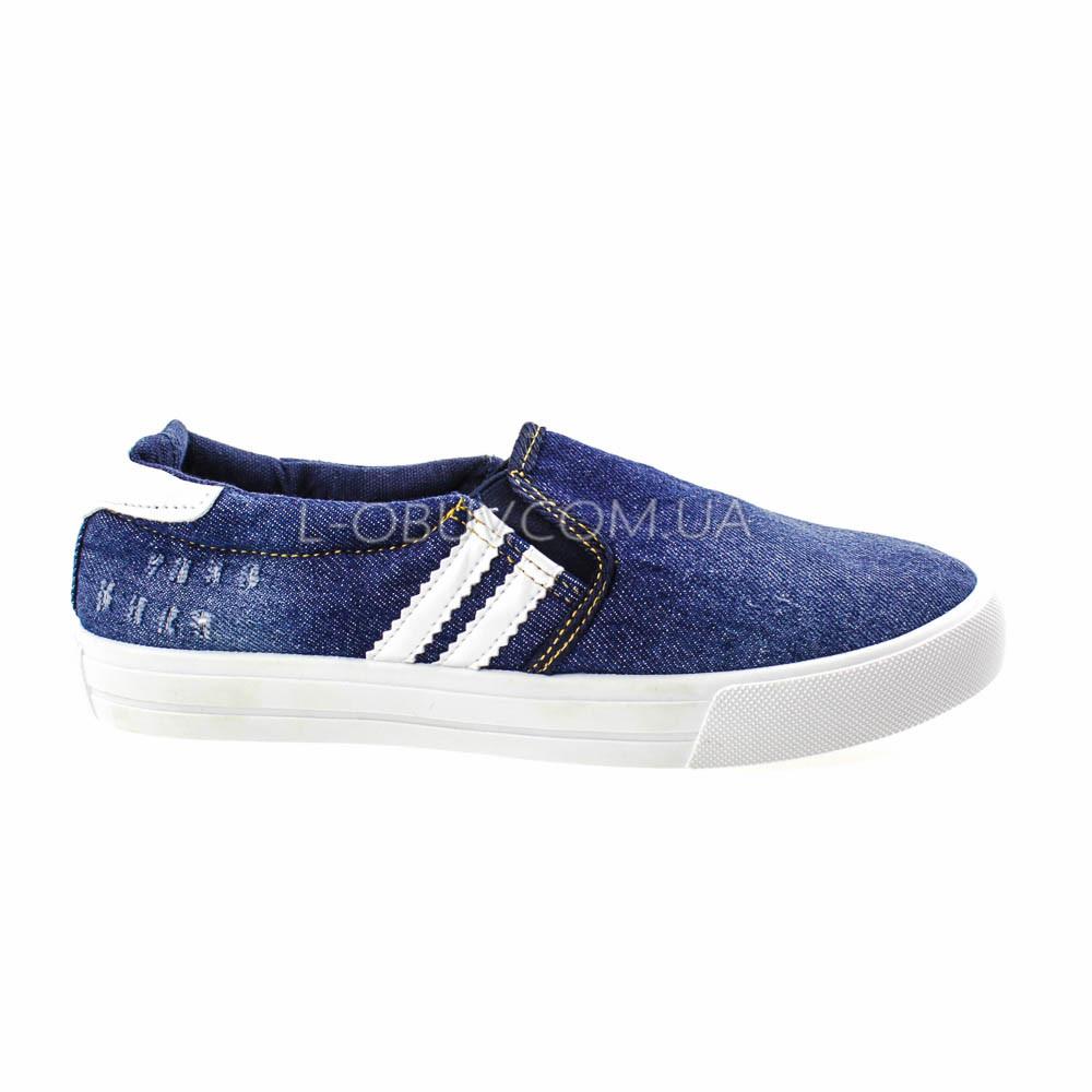 Кеды джинсовые синие с белыми полосками 2201-301