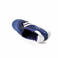 Кеды джинсовые синие с белыми полосками 2201-301, фото 3