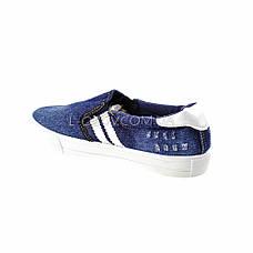 Кеды джинсовые синие с белыми полосками 2201-301, фото 2