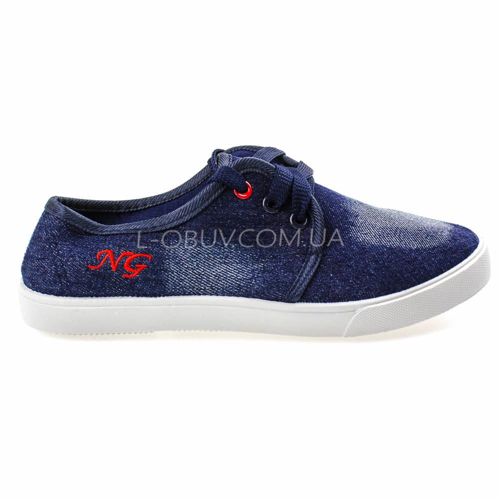 Кеды джинсовые синие на шнурках 2205-30