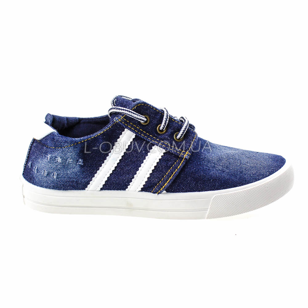 Кеды джинсовые синие с белыми полосками на шнурках 2201-30
