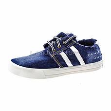Кеды джинсовые синие с белыми полосками на шнурках 2201-30, фото 2
