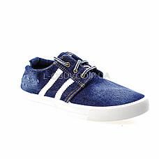 Кеды джинсовые синие с белыми полосками на шнурках 2201-30, фото 3